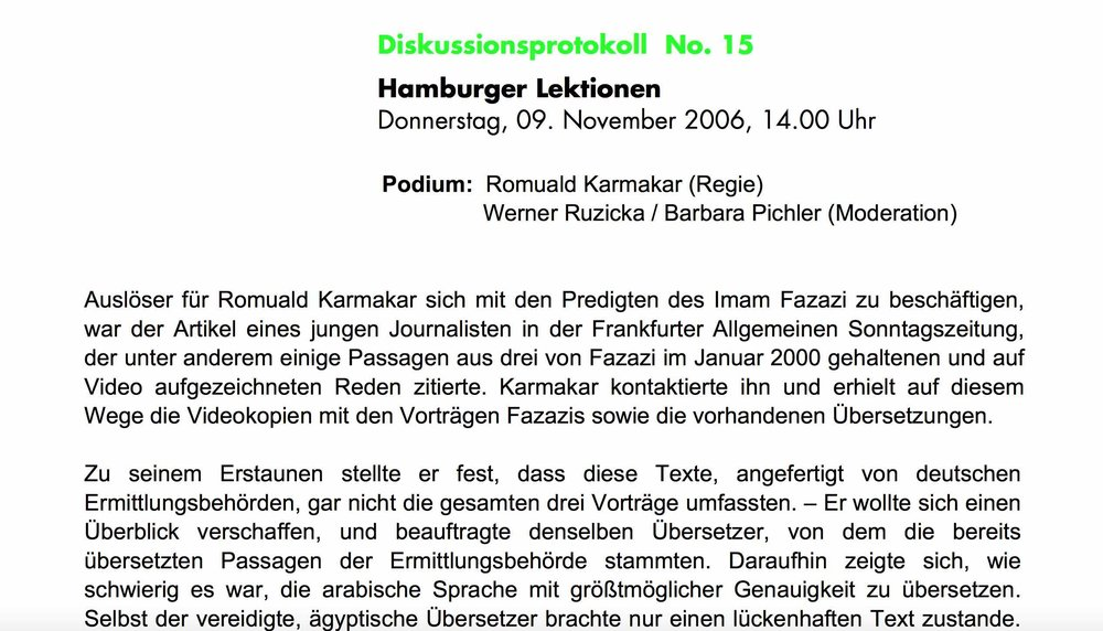 HAMBURGE LEKTIONEN / 30. Duisburger Filmwoche