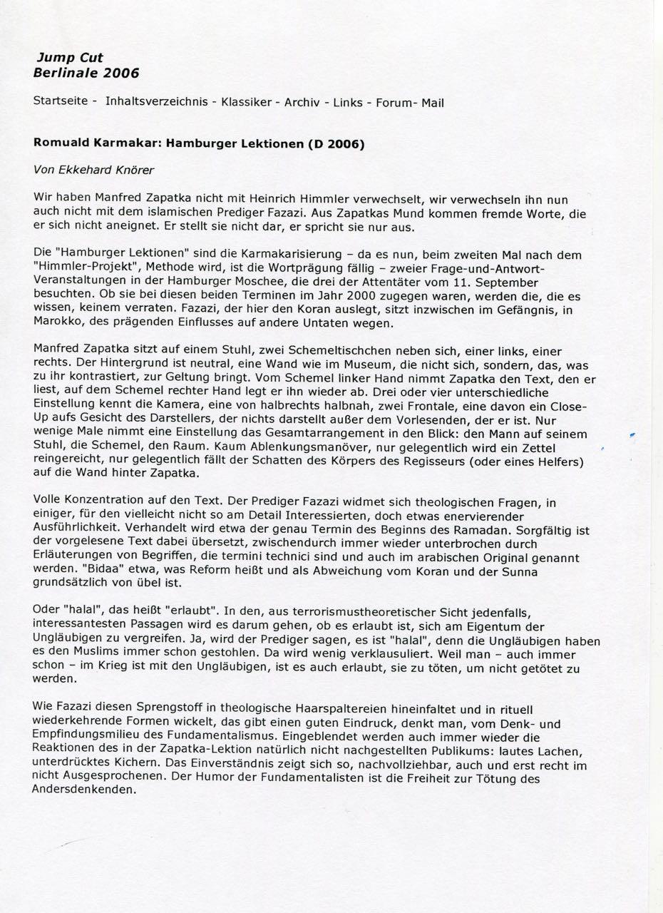 Romuald Karmakar: Hamburger Lektionen (D 2006)