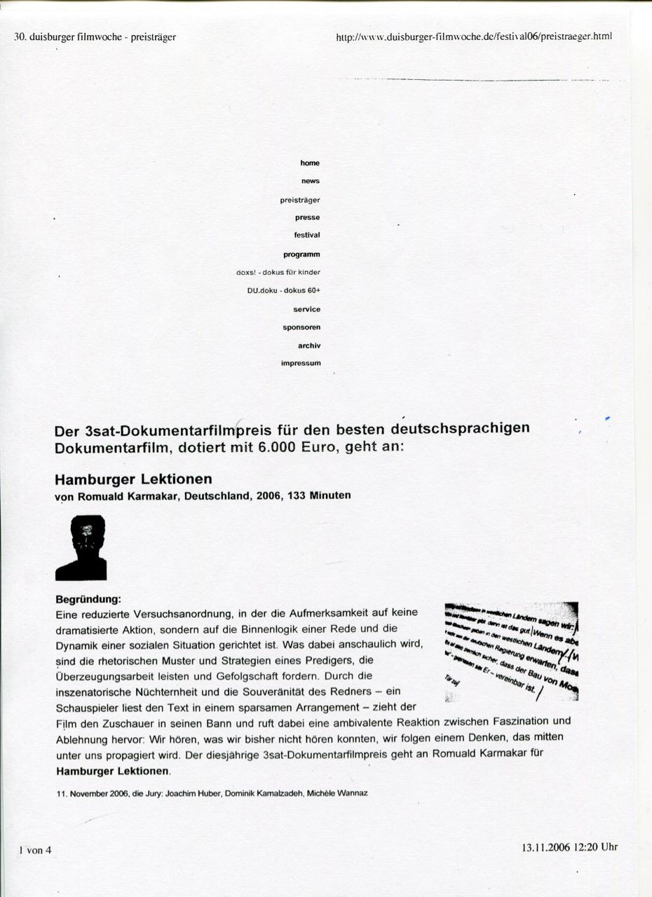 3sat-Dokumentarfilmpreis 2006 / Jurybegründung