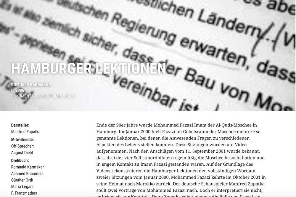 VIENNALE 2006: Hamburger Lektionen