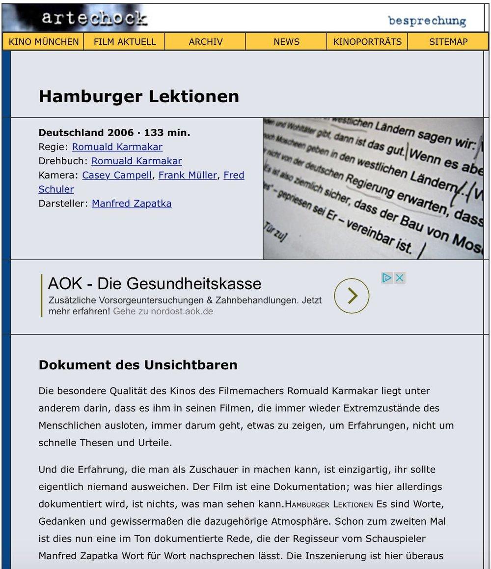 Hamburger Lektionen: Dokument des Unsichtbaren