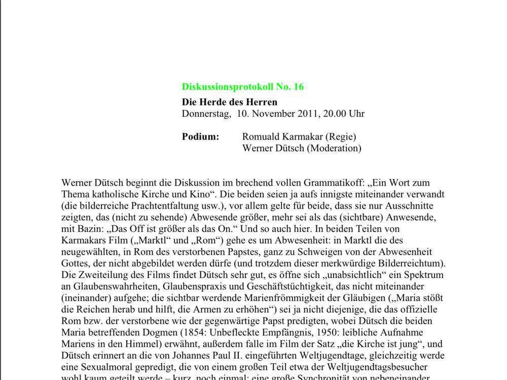Duisburger Filmwoche 2011 / Diskussionsprotokoll No. 16