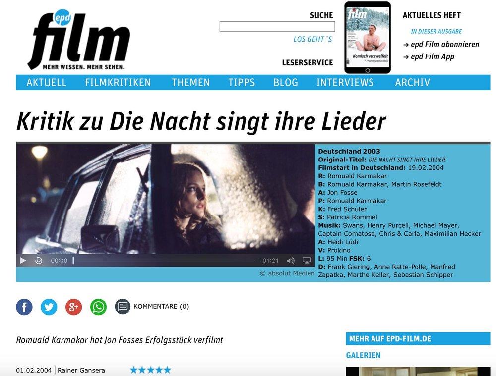 """Kritik zu """"Die Nacht singt ihre Lieder"""""""