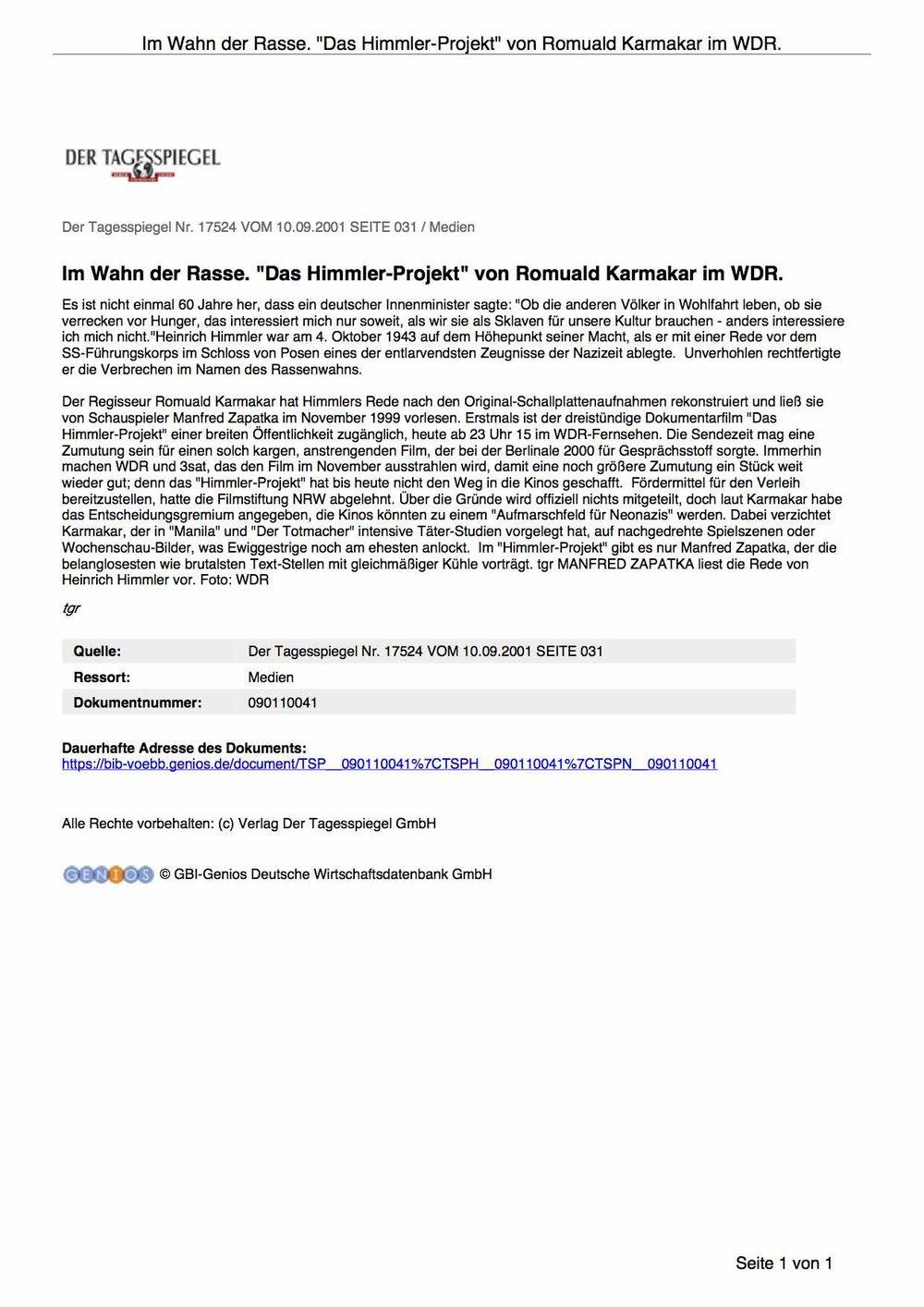 """Im Wahn der Rasse. """"Das Himmler-Projekt"""" von Romuald Karmakar im WDR"""