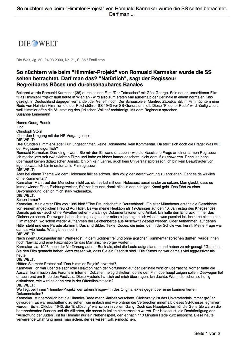 """So nüchtern wie beim """"Himmler-Projekt"""" von Romuald Karmakar wurde die SS selten betrachtet."""