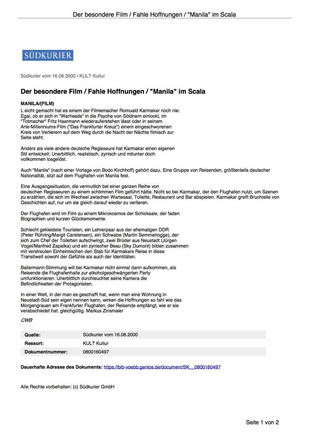 """Der besondere Film / Fahle Hoffnungen / """"Manila"""" im Scala"""
