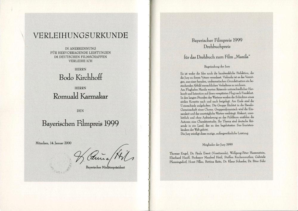 BODO KIRCHHOFF, ROMUALD KARMAKAR: MANILA – DAS FILMBUCH