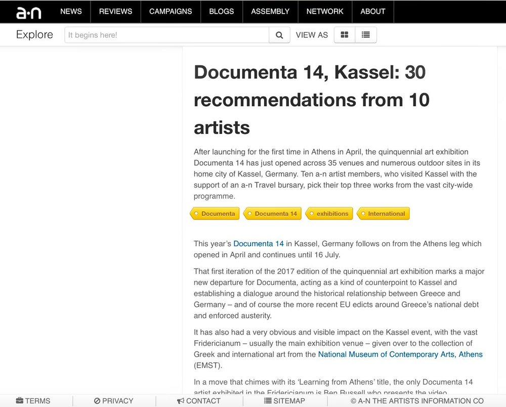 Documenta 14, Kassel: 30 recommendations from 10 artists