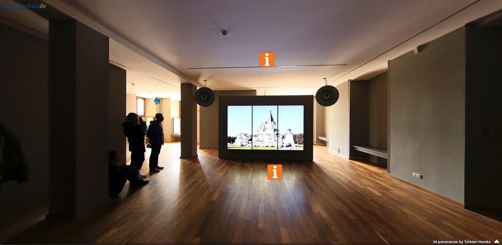 BYZANTION by Romuald Karmakar  documenta 14, Westpavillon, Orangerie, Kassel,  360°-Rundgang / 3 D panorma by Torsten Hemke, Hessenrundschau, 2017