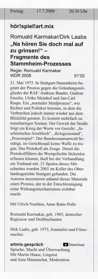 Hörspiel und Medienkunst 2009/2