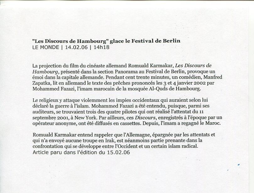 """""""LES DISCOURS DE HAMBOURG"""" GLACE LE FESTIVAL DE BERLIN"""