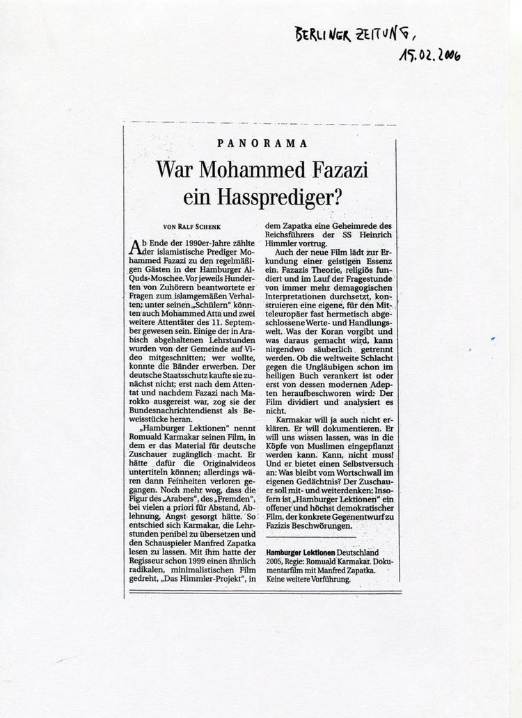WAR MOHAMMED FAZAZI EIN HASSPREDIGER?