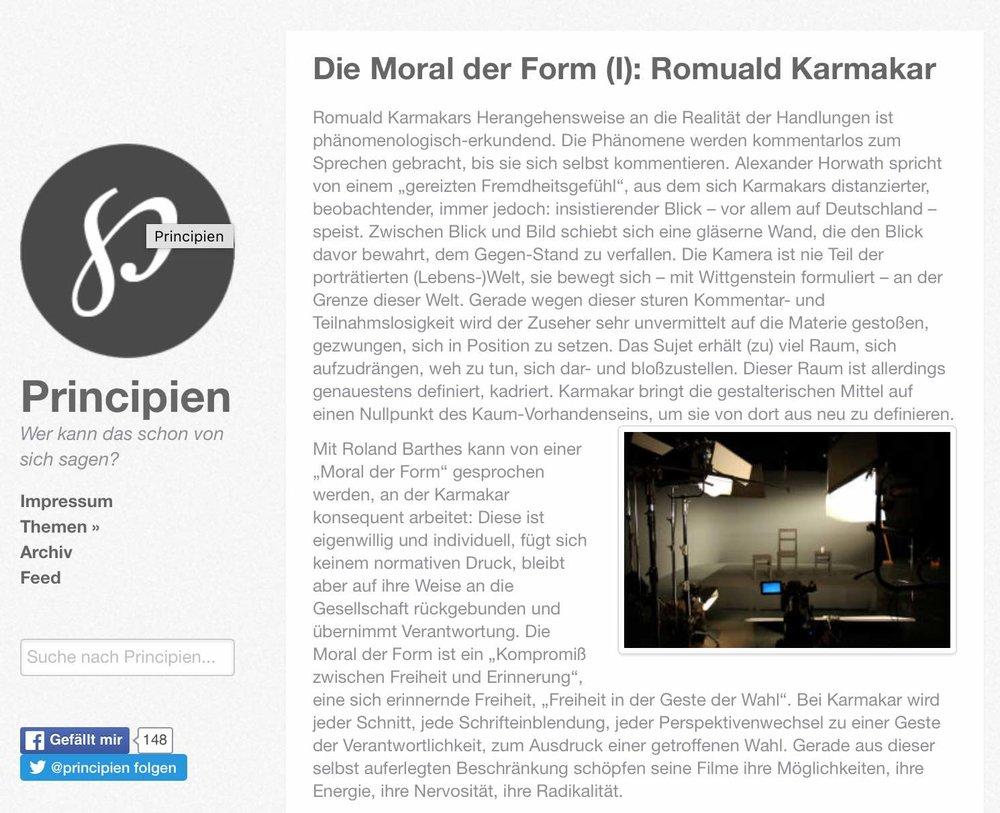 DIE MORAL DER FORM (I): ROMUALD KARMAKAR