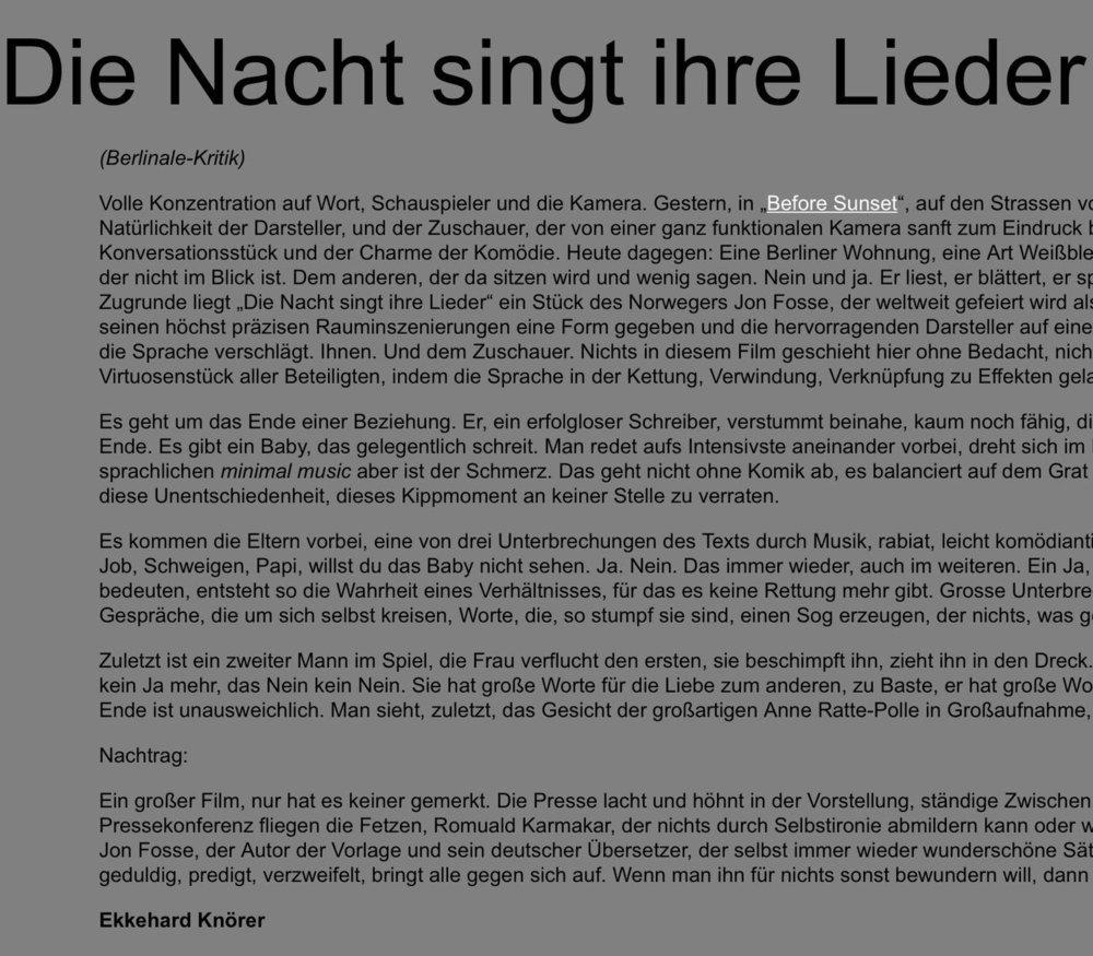 DIE NACHT SINGT IHRE LIEDER / BERLINALE-KRITIK