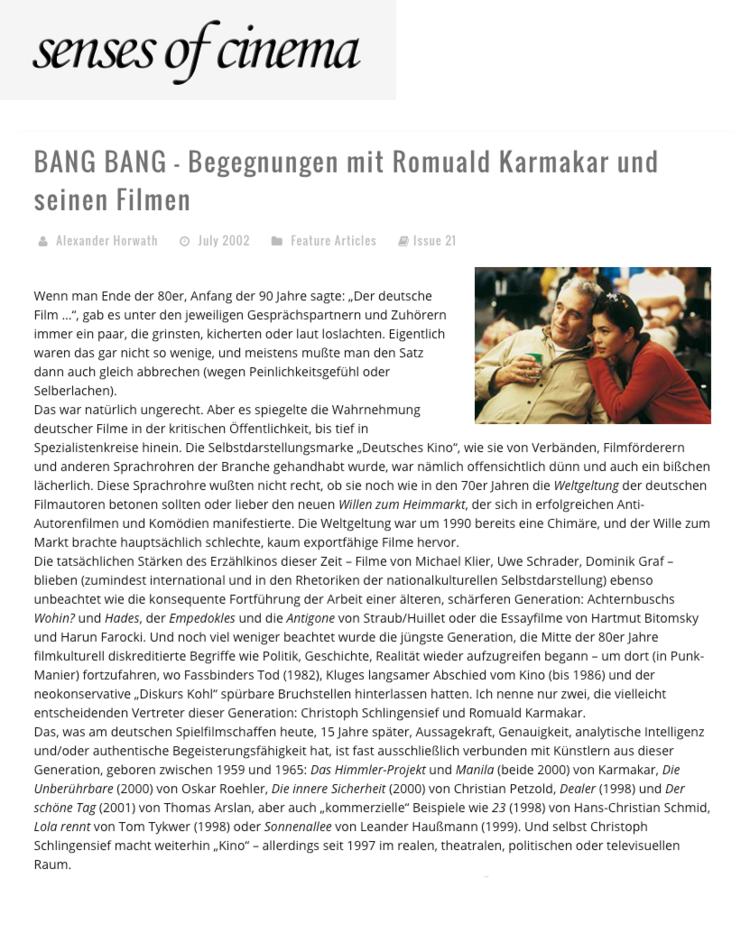BANG BANG – BEGEGNUNGEN MIT ROMUALD KARMAKAR UND SEINEN FILMEN