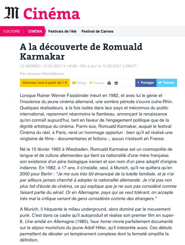 A LA DÉCOUVERTE DE ROMUALD KARMAKAR