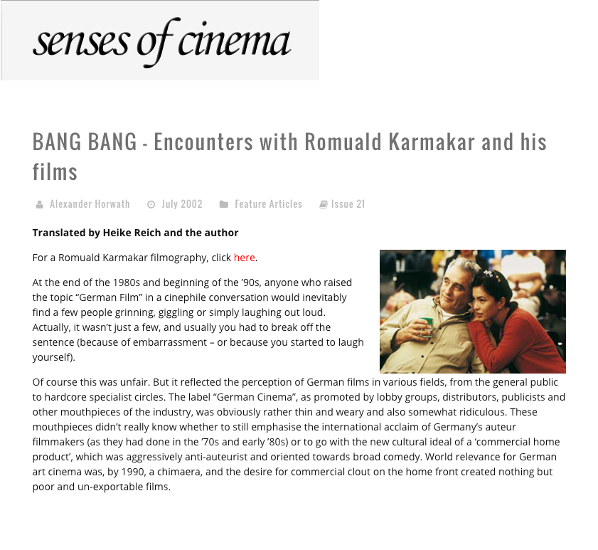 BANG BANG – ENCOUNTERS WITH ROMUALD KARMAKAR AND HIS FILMS