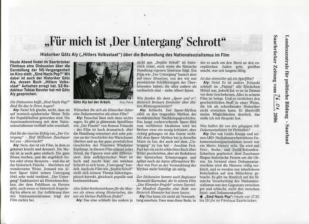 """""""Für mich ist 'Der Untergang"""" Schrott"""""""