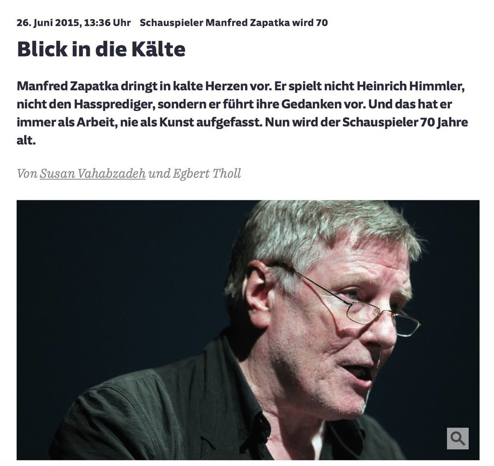 Blick in die Kälte / Schauspieler Manfred Zapatka wird 70