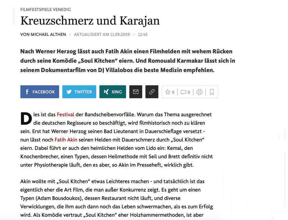 FILMFESTSPIELE VENEDIG : Kreuzschmerz und Karajan