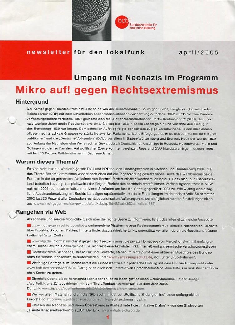 MIKRO AUF! GEGEN RECHTSEXTREMISMUS