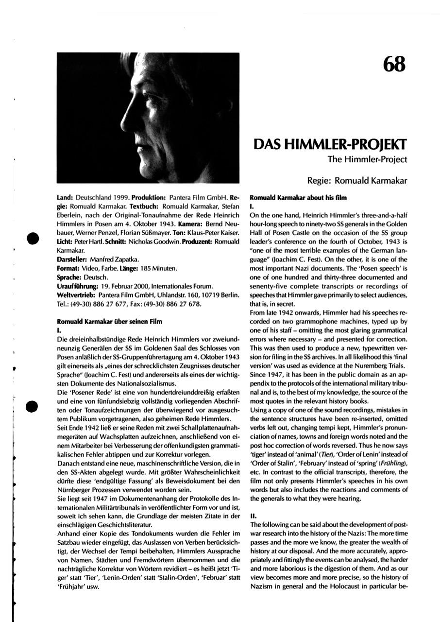 DAS HIMMLER-PROJEKT / FORUM BLATT 68