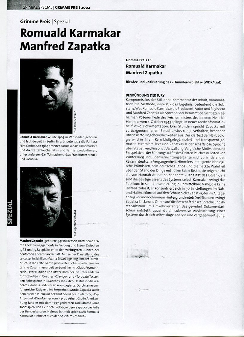GRIMME PREIS SPEZIAL (2002)  Begründung der Jury.   PDF