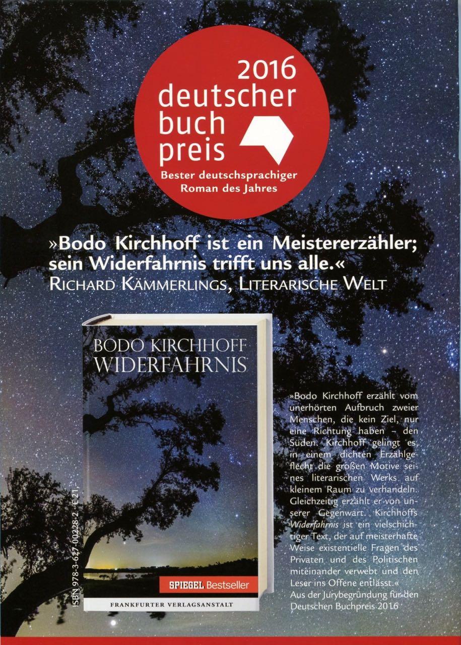 DEUTSCHER BUCHPREIS 2016 FÜR BODO KIRCHHOFF