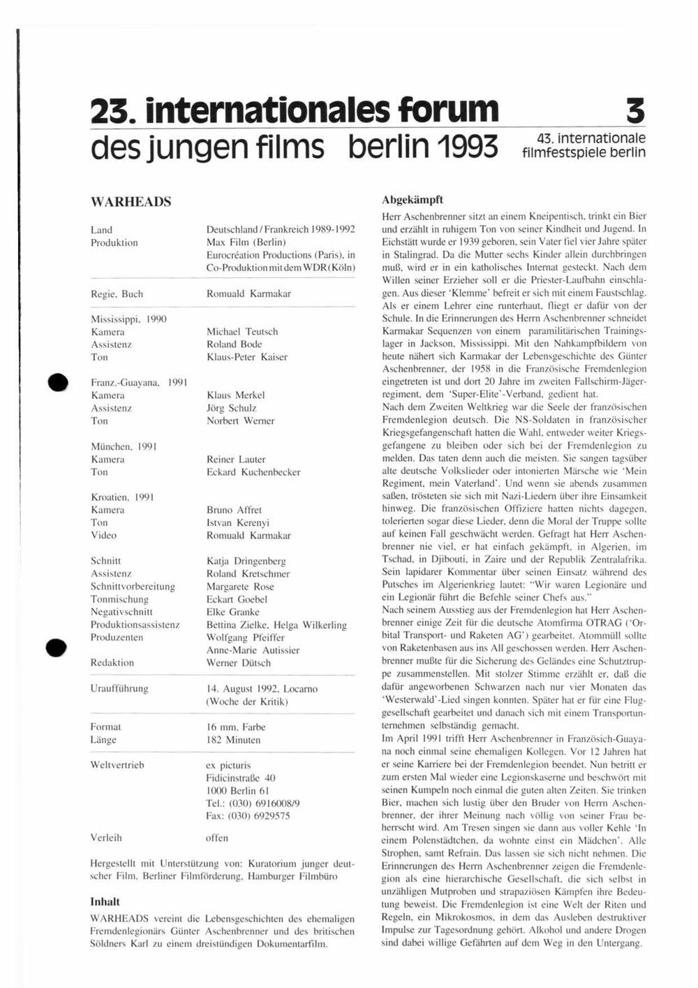 WARHEADS / BERLINALE 1993