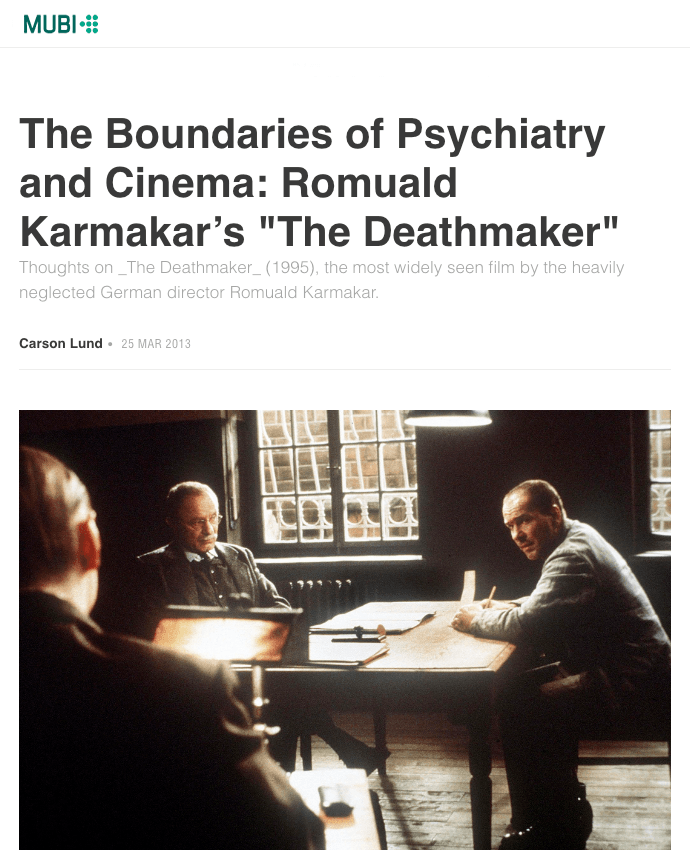 THE BOUNDARIES OF PSYCHIATRY AND CINEMA
