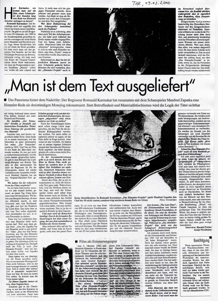 """""""MAN IST DEM TEXT AUSGELIEFERT"""""""