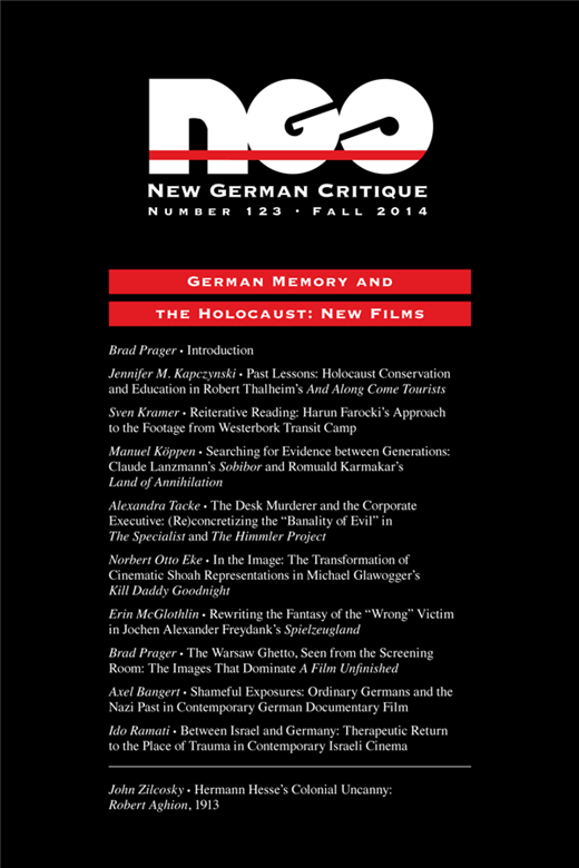 "Alexandra Tacke: The Desk Murderer and the Corporate Executive: (Re)concretizing the ""Banality of Evil"" in The Specialist and The Himmler Project,  in:  New German Critique (2014) 41 (3 (123)) , p. 75-93."