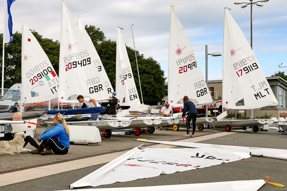 Preparations onshore ready for the start of the U21 Worlds in Kiel, Germany.