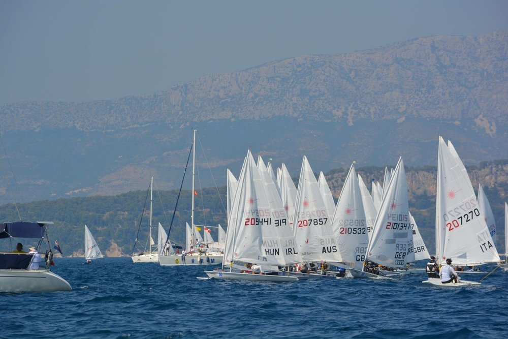 Just before the start of Race 9 with all the boats jostling for position.