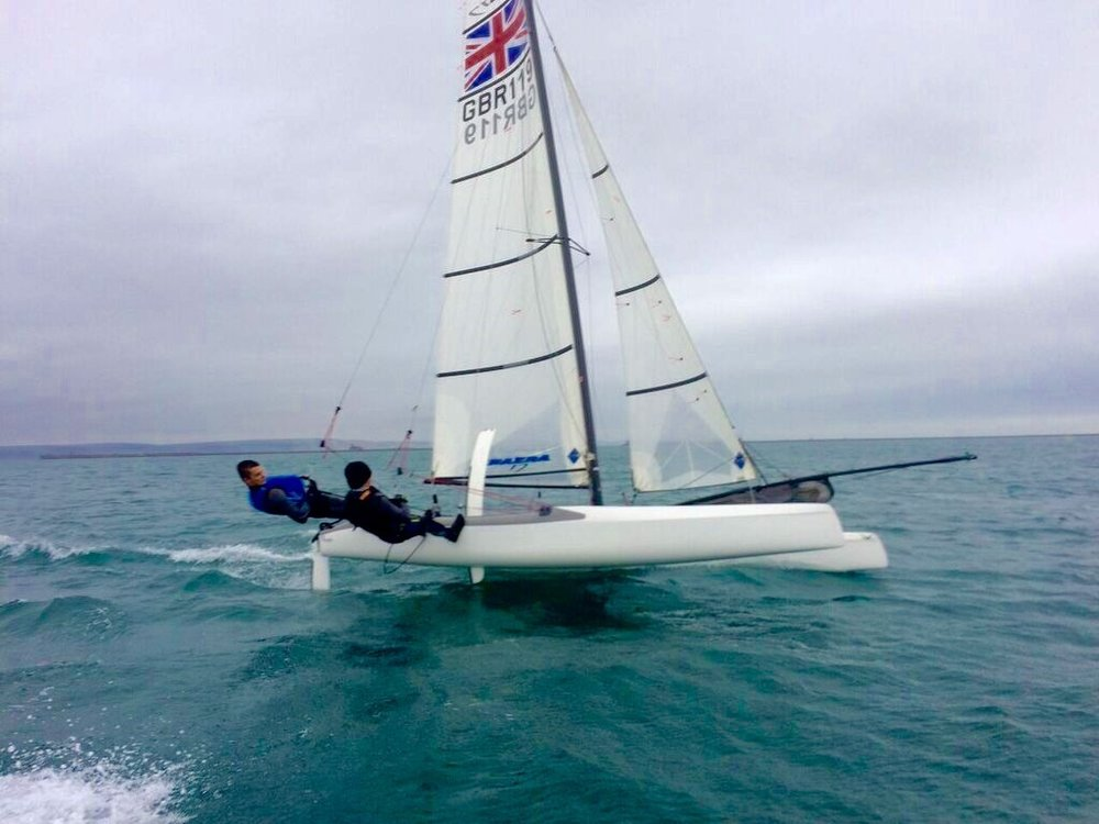 Sailing the Nacra 17 catamaran with my brother, Ben.