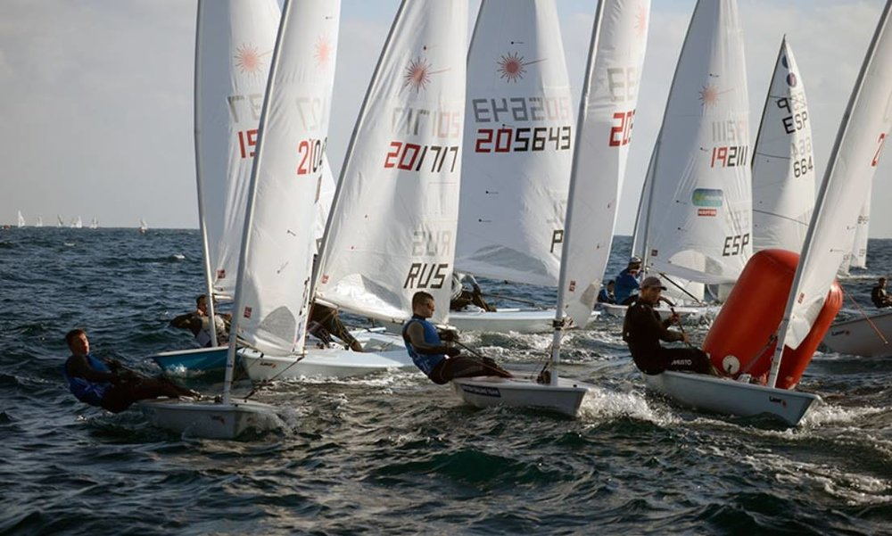 One hectic windward marking rounding on Day 1 of Palamos Christmas Race 2016.