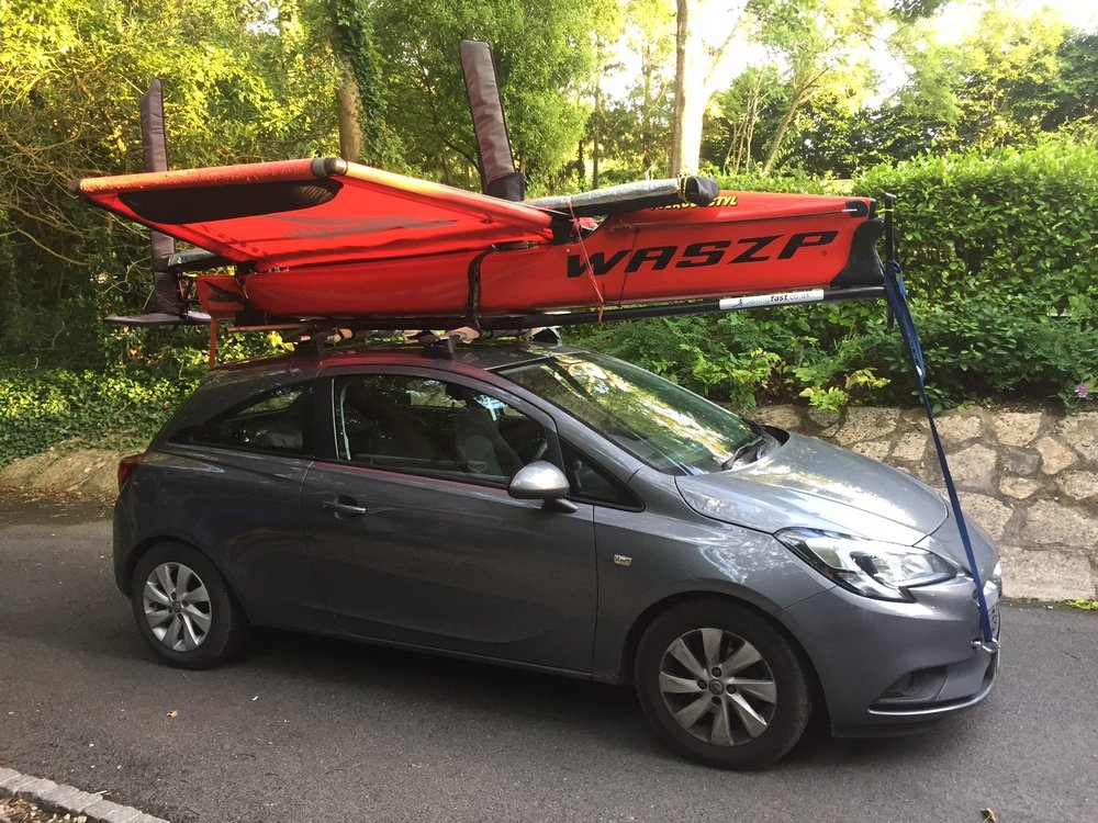 Anyway back to proper sailing! As well as my training in my Laser I organised a group of friends to sail the Waszp down in Weymouth. I was happy to find the Waszp fits perfectly on my corsa roof.
