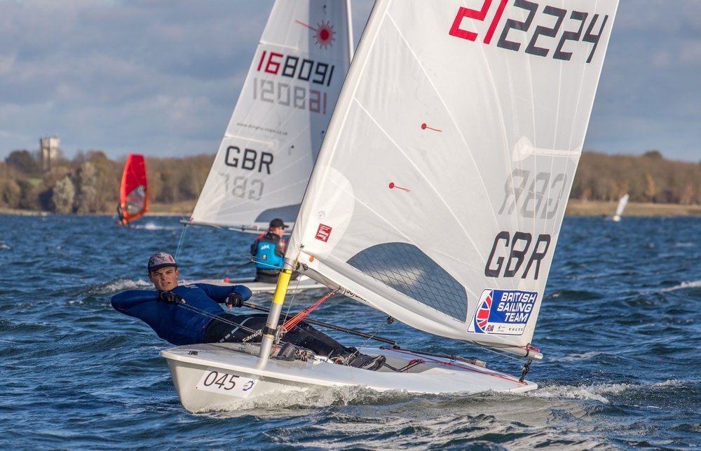 After a couple of weeks training down in Weymouth I travelled to Grafham Water Sailing Club for the Laser Inland Championships. Held in very shifty and cold winds, I am very pleased to say I won the event for the first time. Here are a few shots of me from around the race course: