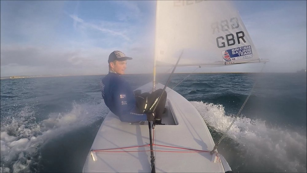 Obviously enjoying the windy sunset downwind sessions in Weymouth!