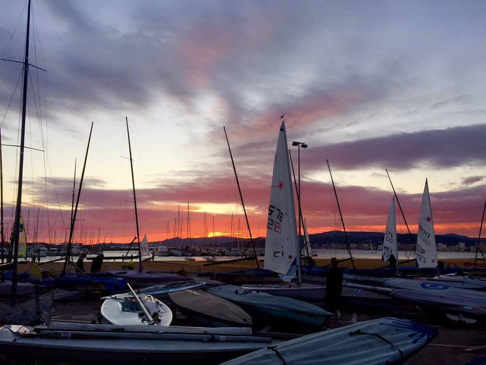 Beautiful (but incredibly cold!) sunsets greeted us everyday after racing in Palamos.