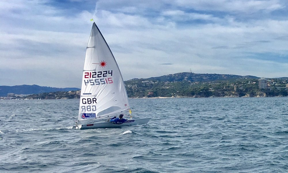 Giving it beans on an upwind leg at Palamos Christmas Race.