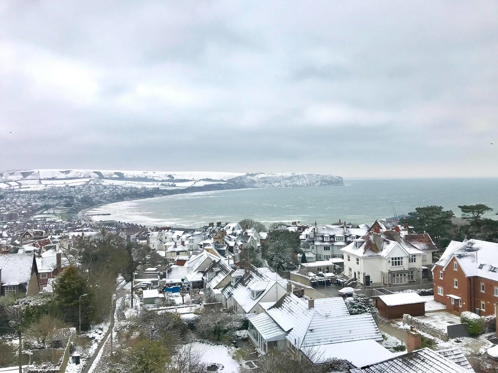 Swanage covered in snow.
