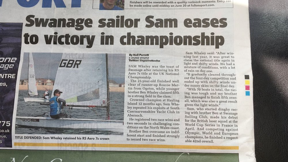 Returning home to Swanage it was amazing to see the paper covering my story at the Aero nationals. It was, however, much tougher than simply 'easing' to victory!!