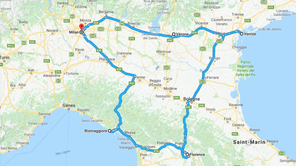 Notre parcours : Milan - Verone - Venise - Florence - Les 5 Terres - Milan