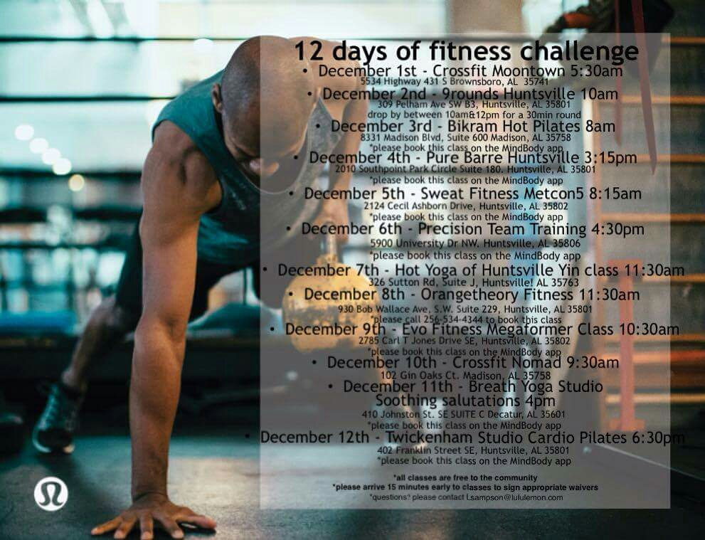 Bring a friend to the 0530 class! We are kicking off lulu lemon's 12 Days of Fitness!!
