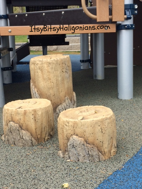Cute faux wooden stumps for climbing on