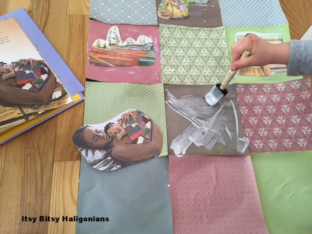 To avoid bubbles and wrinkles under the paper you should smooth out the modpodge after the children apply it, and then smooth out each piece of paper as it is placed. Or, you can leave the bubbles and embrace the imperfections of childhood art!
