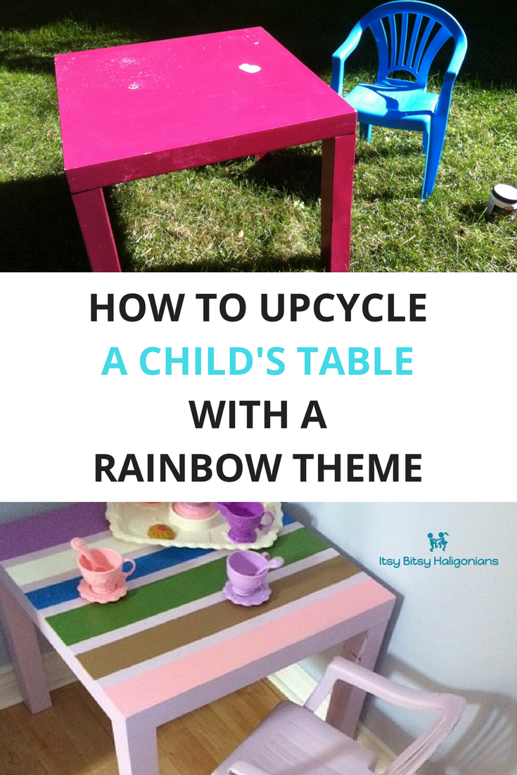How to upcycle a child's thrift store table into a rainbow theme set