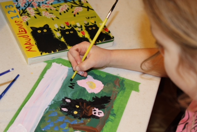 Miss M was inspired to add her initials to her painting just like Maud Lewis did to hers
