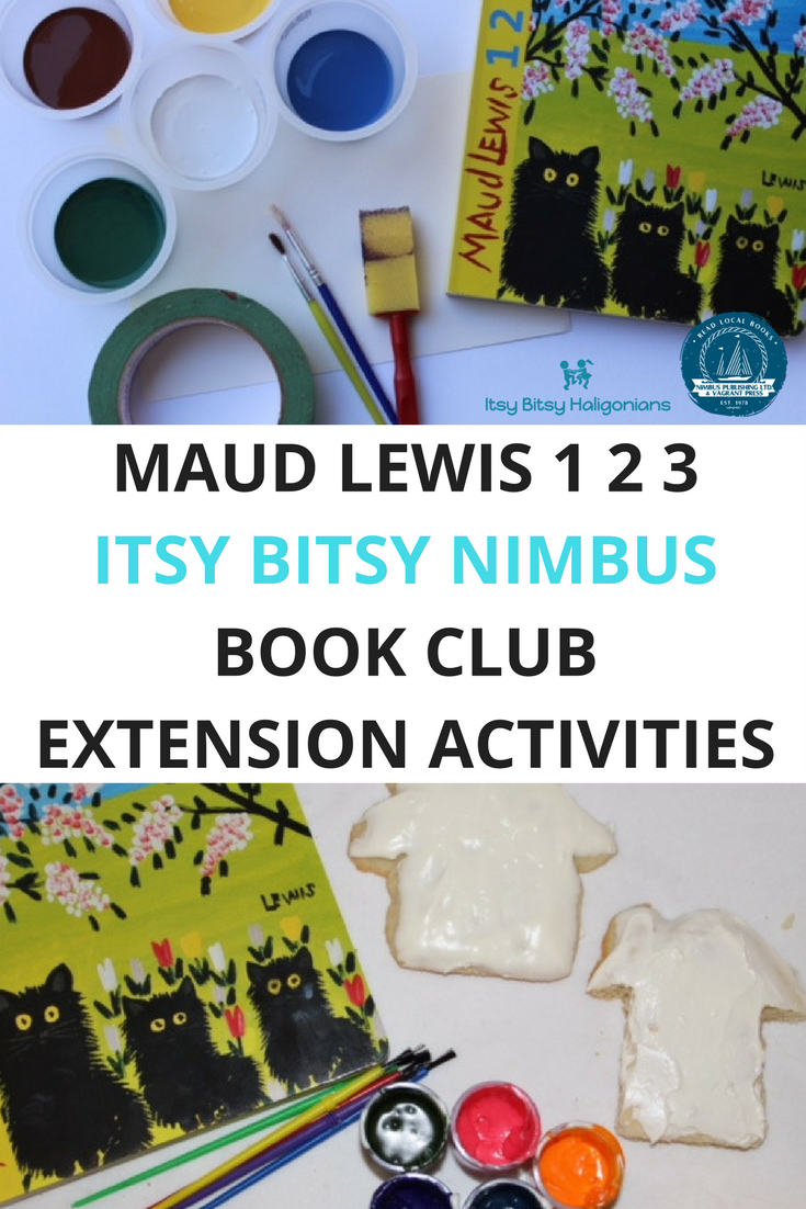 Maud Lewis 1 2 3 book extension activities including making Maud Lewis inspired Christmas cards and cookie houses